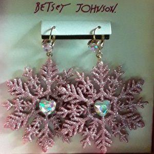 Betsey Johnson CHRISTMAS SNOWFLAKE EARRINGS